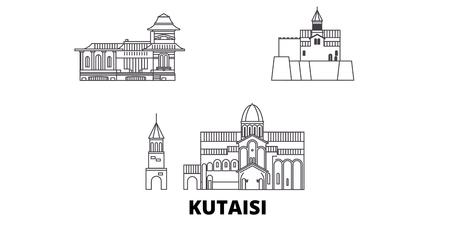 Georgia, Kutaisi line travel skyline set. Georgia, Kutaisi outline city vector panorama, illustration, travel sights, landmarks, streets. Illustration
