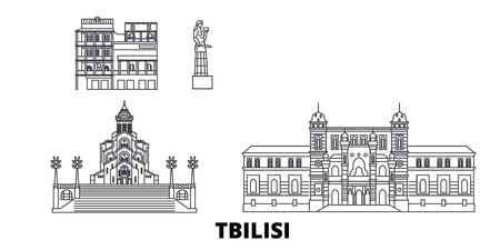 Georgia, Tbilisi line travel skyline set. Georgia, Tbilisi outline city vector panorama, illustration, travel sights, landmarks, streets. Illustration