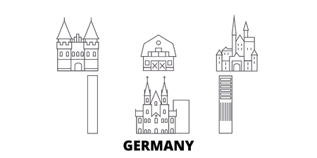 Germany line travel skyline set. Germany outline city vector panorama, illustration, travel sights, landmarks, streets. Illustration