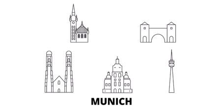 Germany, Munich line travel skyline set. Germany, Munich outline city vector panorama, illustration, travel sights, landmarks, streets.  イラスト・ベクター素材