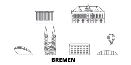 Germany, Bremen line travel skyline set. Germany, Bremen outline city vector panorama, illustration, travel sights, landmarks, streets.