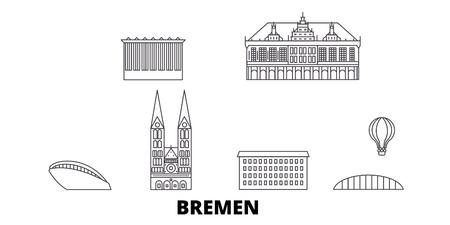 Germany, Bremen line travel skyline set. Germany, Bremen outline city vector panorama, illustration, travel sights, landmarks, streets.