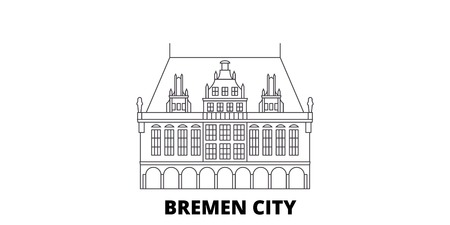 Germany, Bremen City line travel skyline set. Germany, Bremen City outline city vector panorama, illustration, travel sights, landmarks, streets.