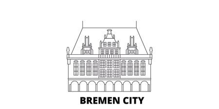 Germany, Bremen City line travel skyline set. Germany, Bremen City outline city vector panorama, illustration, travel sights, landmarks, streets.
