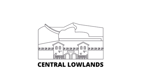 Germany, Central Lowlands line travel skyline set. Germany, Central Lowlands outline city vector panorama, illustration, travel sights, landmarks, streets.