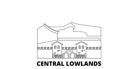 Germany, Central Lowlands line travel skyline set. Germany, Central Lowlands outline city vector panorama, illustration, travel sights, landmarks, streets.