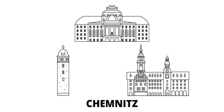 Germany, Chemnitz line travel skyline set. Germany, Chemnitz outline city vector panorama, illustration, travel sights, landmarks, streets.