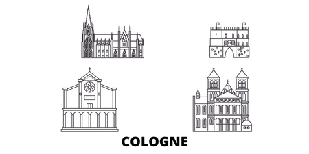 Germany, Cologne line travel skyline set. Germany, Cologne outline city vector panorama, illustration, travel sights, landmarks, streets. Illustration