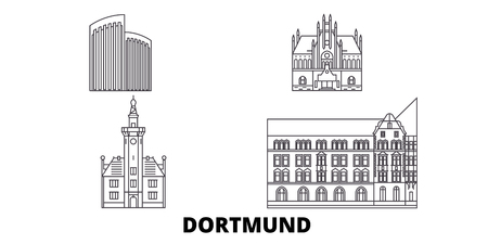 Germany, Dortmund line travel skyline set. Germany, Dortmund outline city vector panorama, illustration, travel sights, landmarks, streets.