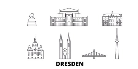 Germany, Dresden line travel skyline set. Germany, Dresden outline city vector panorama, illustration, travel sights, landmarks, streets.