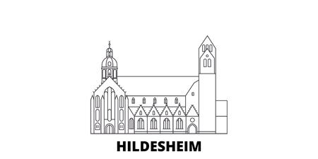 Germany, Hildesheim line travel skyline set. Germany, Hildesheim outline city vector panorama, illustration, travel sights, landmarks, streets. Standard-Bild - 120564160