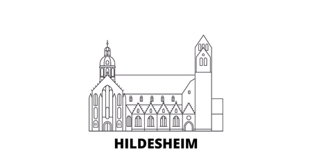 Germany, Hildesheim line travel skyline set. Germany, Hildesheim outline city vector panorama, illustration, travel sights, landmarks, streets.