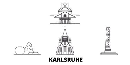 Germany, Karlsruhe line travel skyline set. Germany, Karlsruhe outline city vector panorama, illustration, travel sights, landmarks, streets.
