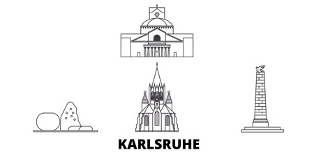 Germany, Karlsruhe line travel skyline set. Germany, Karlsruhe outline city vector panorama, illustration, travel sights, landmarks, streets.