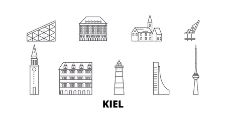 Germany, Kiel line travel skyline set. Germany, Kiel outline city vector panorama, illustration, travel sights, landmarks, streets. Stock Vector - 123962734