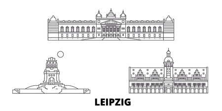 Germany, Leipzig line travel skyline set. Germany, Leipzig outline city vector panorama, illustration, travel sights, landmarks, streets. Reklamní fotografie - 123962735