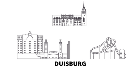 Germany, Duisburg line travel skyline set. Germany, Duisburg outline city vector panorama, illustration, travel sights, landmarks, streets.