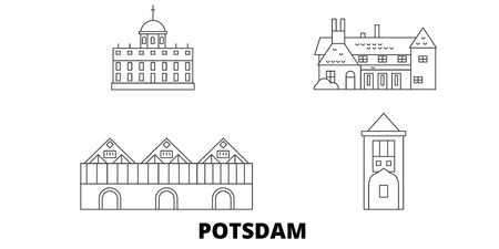 Germany, Potsdam line travel skyline set. Germany, Potsdam outline city vector panorama, illustration, travel sights, landmarks, streets.