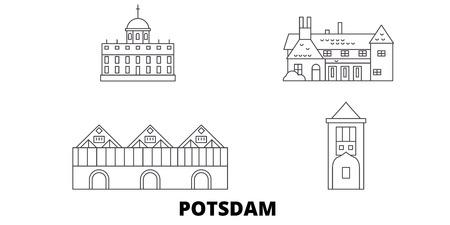 Germany, Potsdam line travel skyline set. Germany, Potsdam outline city vector panorama, illustration, travel sights, landmarks, streets.