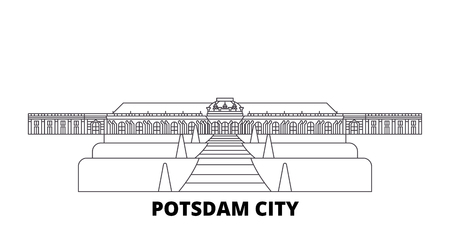 Germany, Potsdam City line travel skyline set. Germany, Potsdam City outline city vector panorama, illustration, travel sights, landmarks, streets.
