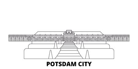 Germany, Potsdam City line travel skyline set. Germany, Potsdam City outline city vector panorama, illustration, travel sights, landmarks, streets.