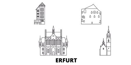 Germany, Erfurt line travel skyline set. Germany, Erfurt outline city vector panorama, illustration, travel sights, landmarks, streets.