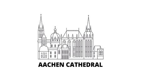 Deutschland, Aachener Dom Linie Reisen Skyline Set. Deutschland, Aachener Dom umreißt Stadtvektorpanorama, Illustration, Reisesehenswürdigkeiten, Sehenswürdigkeiten, Straßen. Vektorgrafik