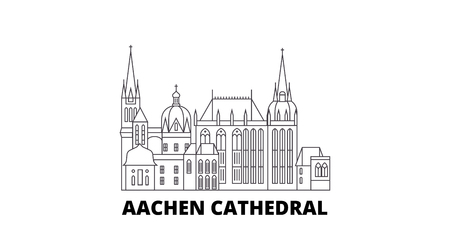 Germany, Aachen Cathedral line travel skyline set. Germany, Aachen Cathedral outline city vector panorama, illustration, travel sights, landmarks, streets.