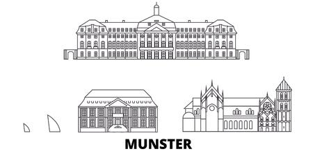 Germany, Munster line travel skyline set. Germany, Munster outline city vector panorama, illustration, travel sights, landmarks, streets.