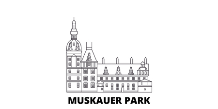 Germany, Muskauer Parki line travel skyline set. Germany, Muskauer Parki outline city vector panorama, illustration, travel sights, landmarks, streets.  イラスト・ベクター素材