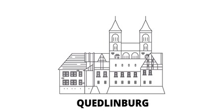 Germany, Quedlinburg line travel skyline set. Germany, Quedlinburg outline city vector panorama, illustration, travel sights, landmarks, streets.