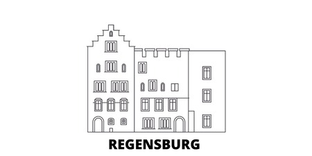 Germany, Regensburg line travel skyline set. Germany, Regensburg outline city vector panorama, illustration, travel sights, landmarks, streets.  イラスト・ベクター素材