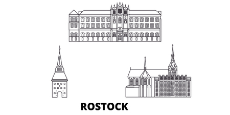 Germany, Rostock line travel skyline set. Germany, Rostock outline city vector panorama, illustration, travel sights, landmarks, streets.