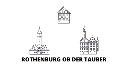 Germany, Rothenburg Ob Der Tauber line travel skyline set. Germany, Rothenburg Ob Der Tauber outline city vector panorama, illustration, travel sights, landmarks, streets. Иллюстрация
