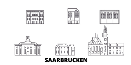 Germany, Saarbrucken line travel skyline set. Germany, Saarbrucken outline city vector panorama, illustration, travel sights, landmarks, streets.