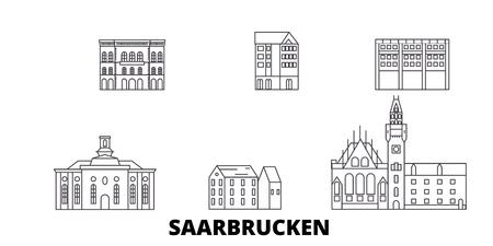 Germany, Saarbrucken line travel skyline set. Germany, Saarbrucken outline city vector panorama, illustration, travel sights, landmarks, streets.