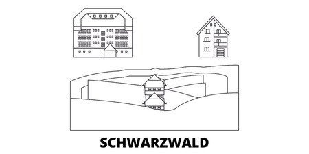 Germany, Schwarzwald line travel skyline set. Germany, Schwarzwald outline city vector panorama, illustration, travel sights, landmarks, streets.