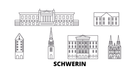 Germany, Schwerin line travel skyline set. Germany, Schwerin outline city vector panorama, illustration, travel sights, landmarks, streets.