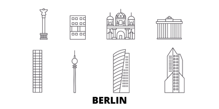 Germany, Berlin City line travel skyline set. Germany, Berlin City outline city vector panorama, illustration, travel sights, landmarks, streets.  イラスト・ベクター素材