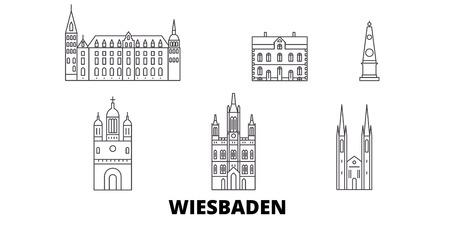 Germany, Wiesbaden line travel skyline set. Germany, Wiesbaden outline city vector panorama, illustration, travel sights, landmarks, streets.