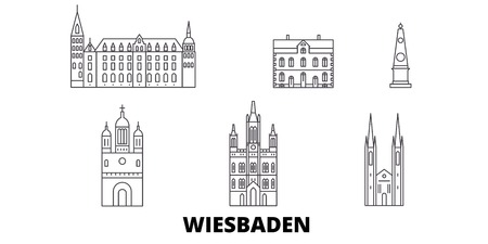Germany, Wiesbaden line travel skyline set. Germany, Wiesbaden outline city vector panorama, illustration, travel sights, landmarks, streets.