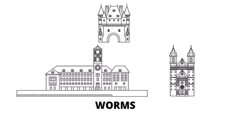 Germany, Worms line travel skyline set. Germany, Worms outline city vector panorama, illustration, travel sights, landmarks, streets.