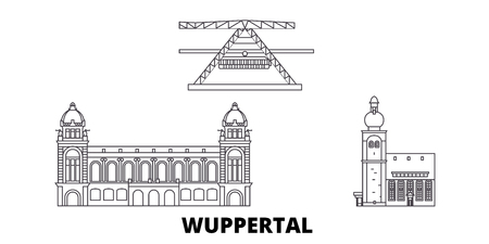 Germany, Wuppertal line travel skyline set. Germany, Wuppertal outline city vector panorama, illustration, travel sights, landmarks, streets.