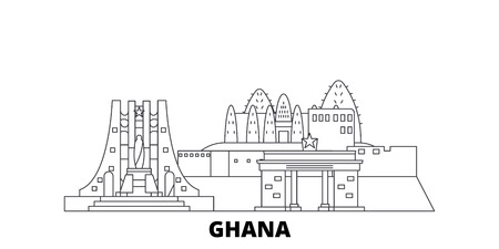 Ghana line travel skyline set. Ghana outline city vector panorama, illustration, travel sights, landmarks, streets. 일러스트