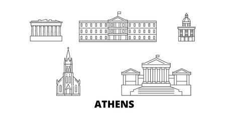 Griechenland, Athen Linie Reisen Skyline Set. Griechenland, Athen skizzieren Stadtvektorpanorama, Illustration, Reisesehenswürdigkeiten, Sehenswürdigkeiten, Straßen.