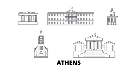 Greece, Athens line travel skyline set. Greece, Athens outline city vector panorama, illustration, travel sights, landmarks, streets.