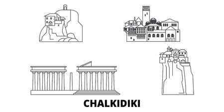 Greece, Chalkidiki line travel skyline set. Greece, Chalkidiki outline city vector panorama, illustration, travel sights, landmarks, streets.
