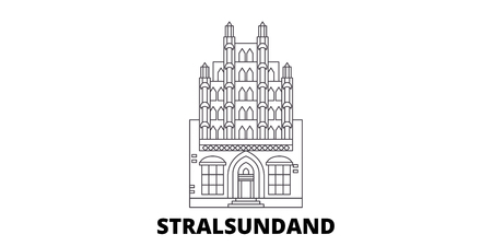 Germany, Stralsundand line travel skyline set. Germany, Stralsundand outline city vector panorama, illustration, travel sights, landmarks, streets.