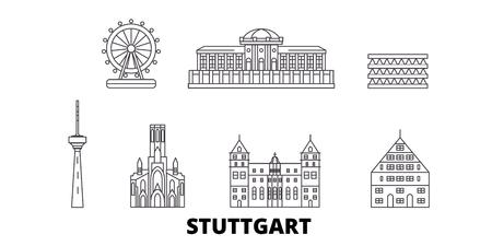 Germany, Stuttgart line travel skyline set. Germany, Stuttgart outline city vector panorama, illustration, travel sights, landmarks, streets. Illustration