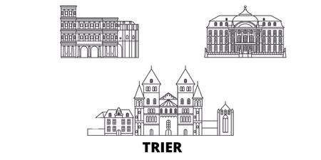 Germany, Trier line travel skyline set. Germany, Trier outline city vector panorama, illustration, travel sights, landmarks, streets.
